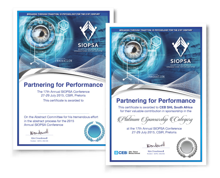 Graphic Portfolio - SIOPSA Certificates